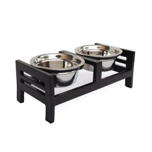 Pets Stop Moretti Double Diner Elevated Dog Feeder Bowl Small Mocha