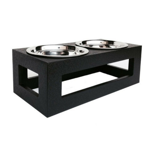 Pets Stop Porchside Outdoor Recycled Plastic Elevated Dog Feeder Bowl Black