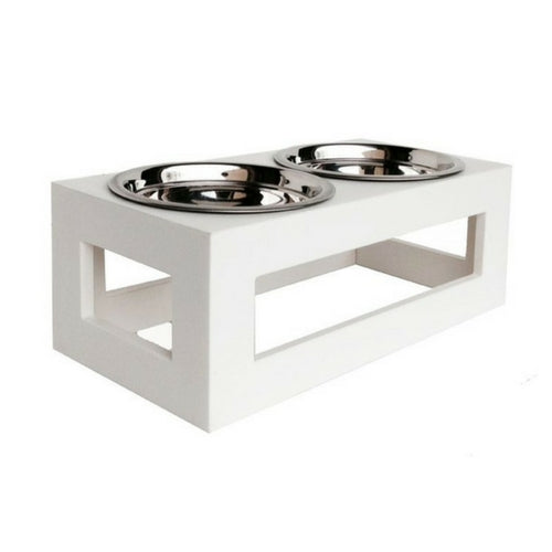 Pets Stop Porchside Outdoor Recycled Plastic Elevated Dog Feeder Bowl White