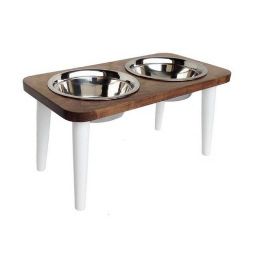 Pets Stop Southern Maple Double Diner Elevated Dog Feeder Bowl White