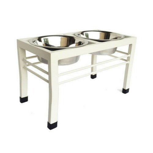 Artisan Walnut Rubberwood Double Elevated Dog Bowl Diner
