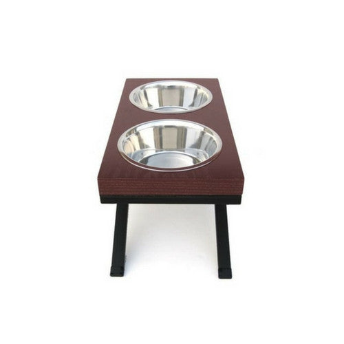Pets Stop Butcher Block Woodsman Double Diner Elevated Dog Feeder Bowl Cherry Stained Side View