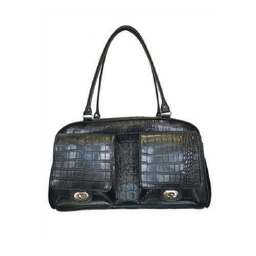 PETOTE Marlee Bag Airline Approved Travel Dog Carrier — Black Croco