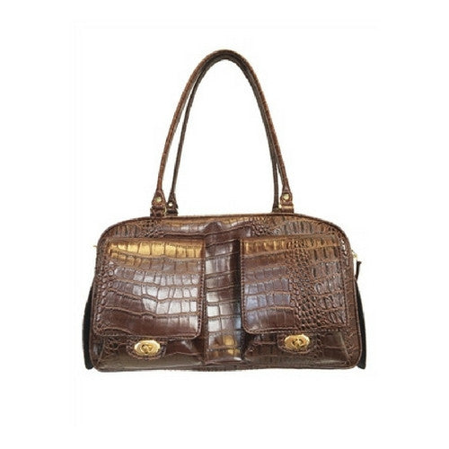 PETOTE Marlee Bag Airline Approved Travel Dog Carrier — Brown Croco