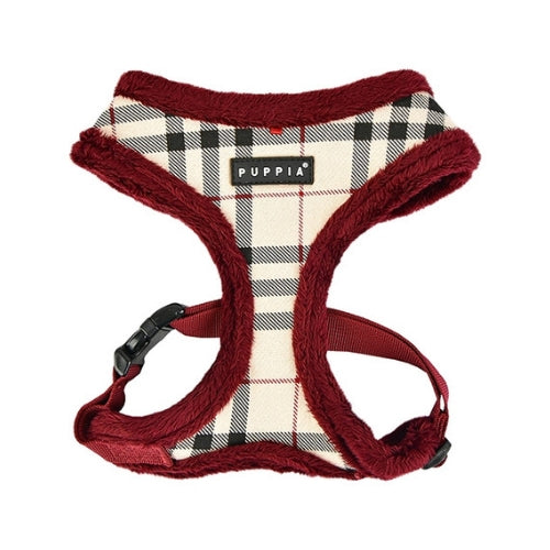 PUPPIA Classic Plaid Dean Harness Beige Front View