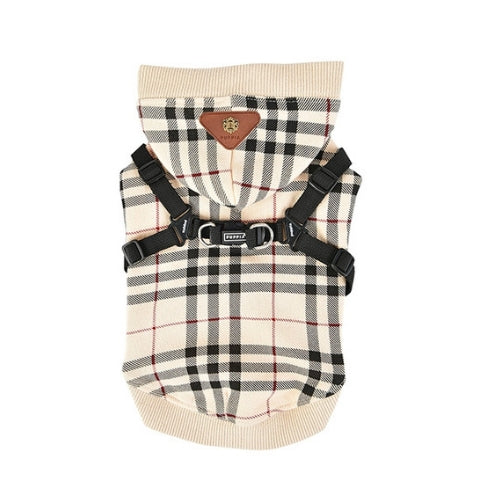 Puppia Classic Plaid Dean Hoodie Dog Harness Beige Back View