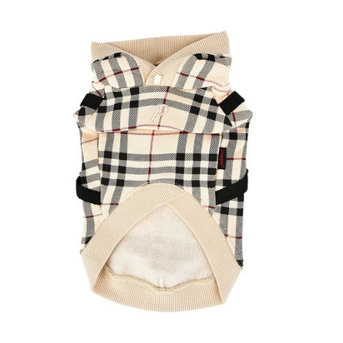 Puppia Classic Plaid Dean Hoodie Dog Harness Beige Front View