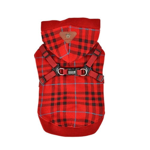 Puppia Classic Plaid Dean Hoodie Dog Harness Wine Back View