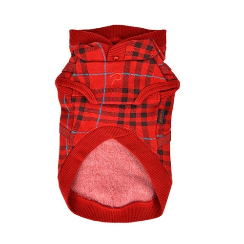 Puppia Classic Plaid Dean Hoodie Dog Harness Wine Front View
