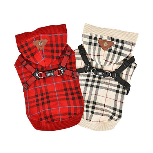 Puppia Classic Plaid Dean Hoodie Dog Harness All Colors
