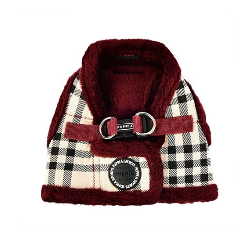 PUPPIA Classic Plaid Dean Vest Dog Harness Beige Back View
