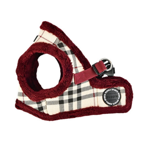 PUPPIA Classic Plaid Dean Vest Dog Harness Beige Side View