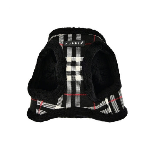 PUPPIA Classic Plaid Dean Vest Dog Harness Black Front View