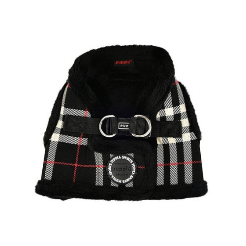 PUPPIA Classic Plaid Dean Vest Dog Harness Black Back View