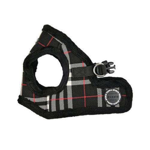 PUPPIA Classic Plaid Dean Vest Dog Harness Black Side View