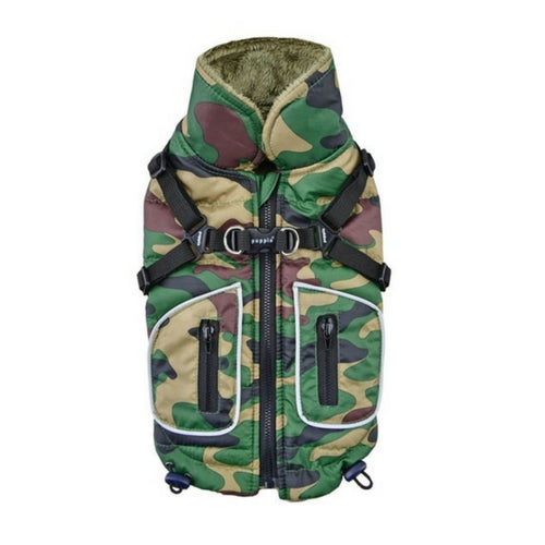 PUPPIA Life Pioneer Winter Active Dog Coat Harness Camo Back View
