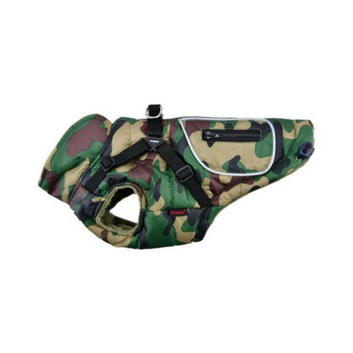 PUPPIA Life Pioneer Winter Active Dog Coat Harness Camo Side View
