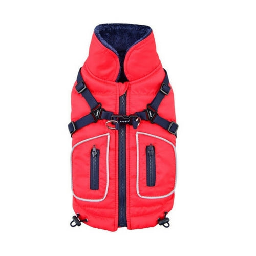 PUPPIA Life Pioneer Winter Active Dog Coat Harness Red Back View