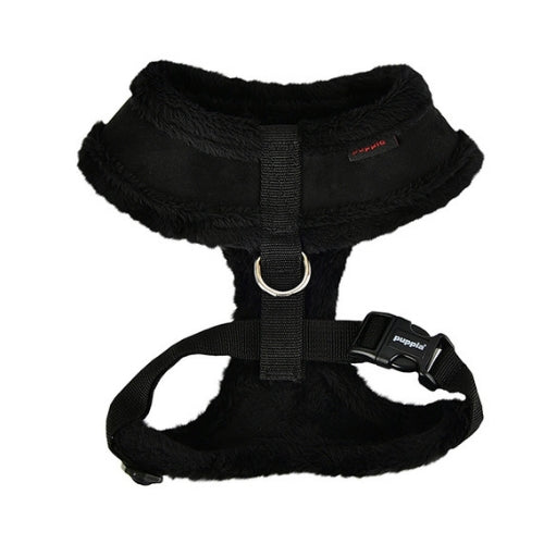 PUPPIA Terry Suede Dog Harness Black Back View