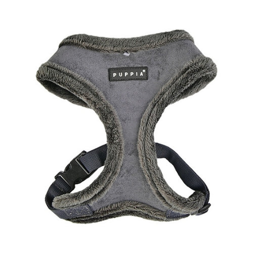 PUPPIA Terry Suede Dog Harness Grey Front View