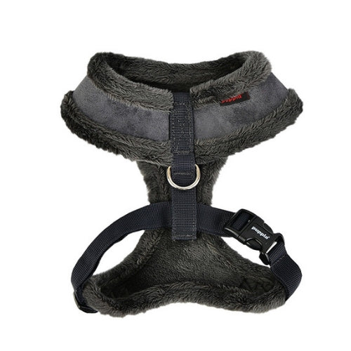 PUPPIA Terry Suede Dog Harness Grey Back View