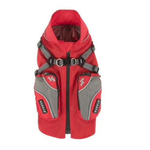 PUPPIA Teton Winter Active Nylon Dog Coat Red