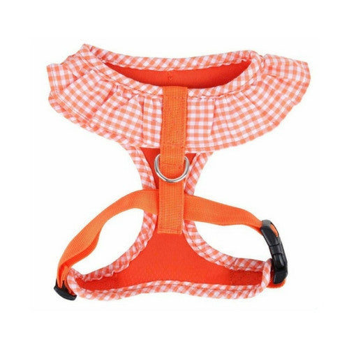 PUPPIA Vivien Soft Collar Adjustable Dog Harness A Orange Back View