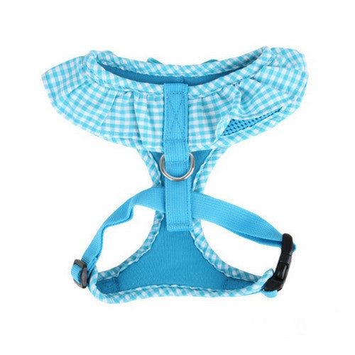 PUPPIA Vivien Soft Collar Adjustable Dog Harness A Sky Blue Back View