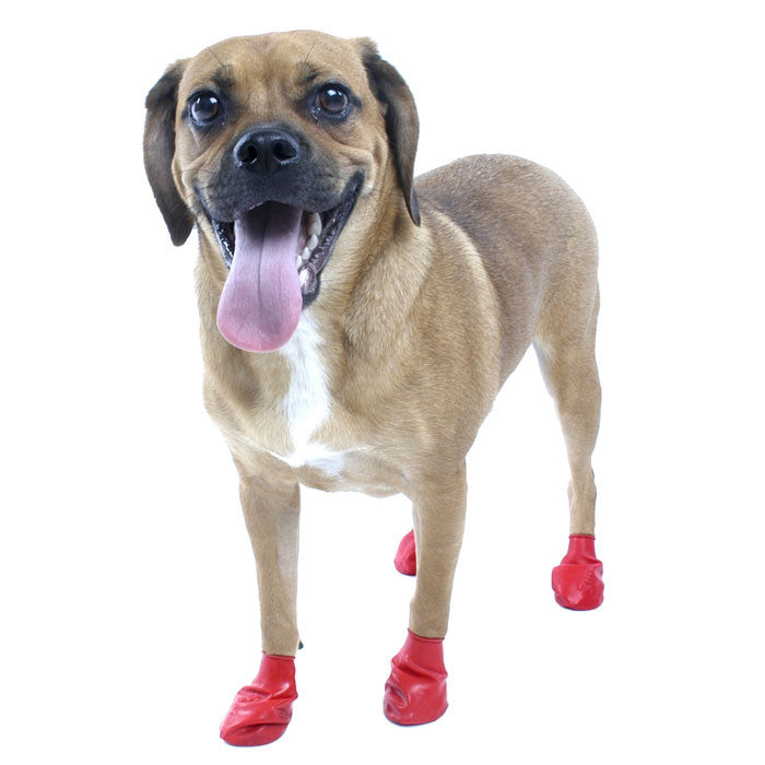 PawZ Natural Rubber Protective Paw Wear Dog Boots Small Red
