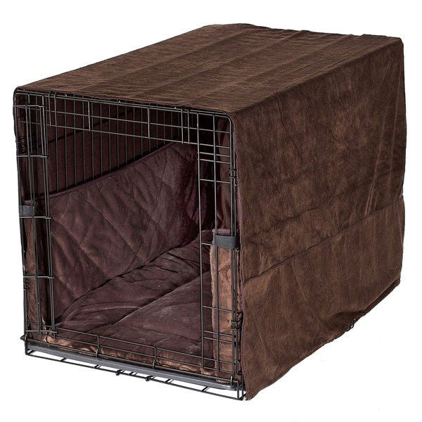 PET DREAMS Plush Dog Crate Set w/ Cover + Bed + Bumper Pad Coco Brown