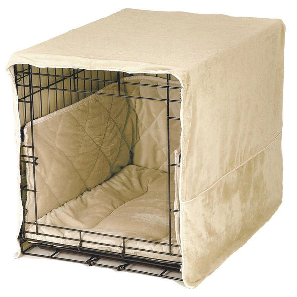 PET DREAMS Plush Dog Crate Set w/ Cover + Bed + Bumper Pad Ivory on Crate