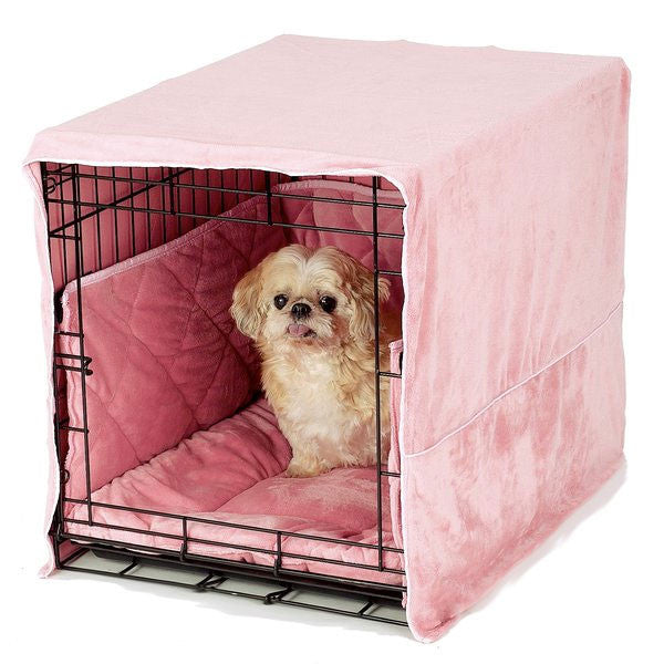 PET DREAMS Plush Dog Crate Set w/ Cover + Bed + Bumper Pad Dusty Pink