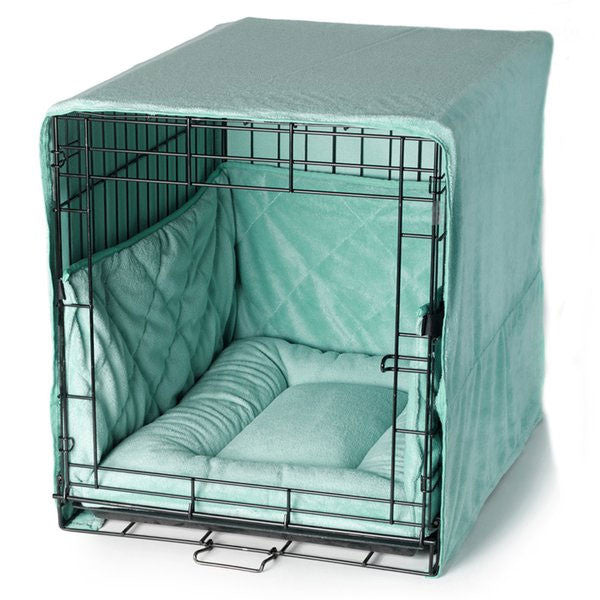 PET DREAMS Plush Dog Crate Set w/ Cover + Bed + Bumper Pad Sea Foam Blue