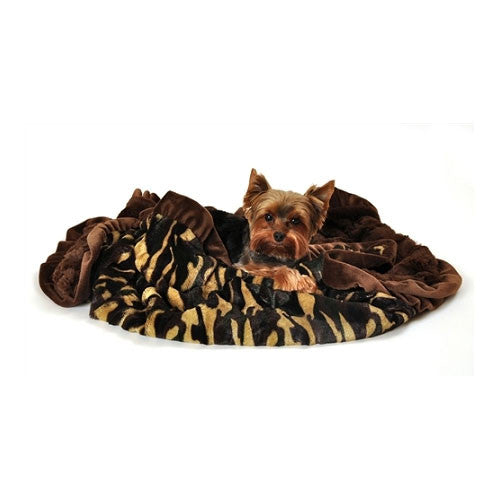 Pet Flys Faux Fur Dog  Cuddle Blanket — Camo / Brown with Dog