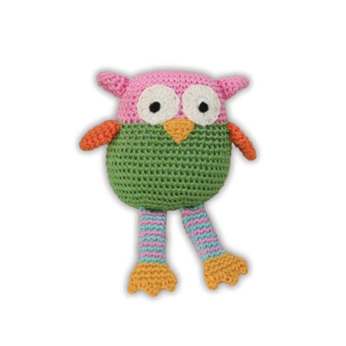 Wise Guy Owl Pet Flys Knit Knacks Organic Cotton Dog Toy