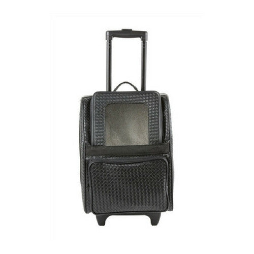 PETOTE Rio Roller Bag Dog Travel Carrier — Black Woven Faux Leather