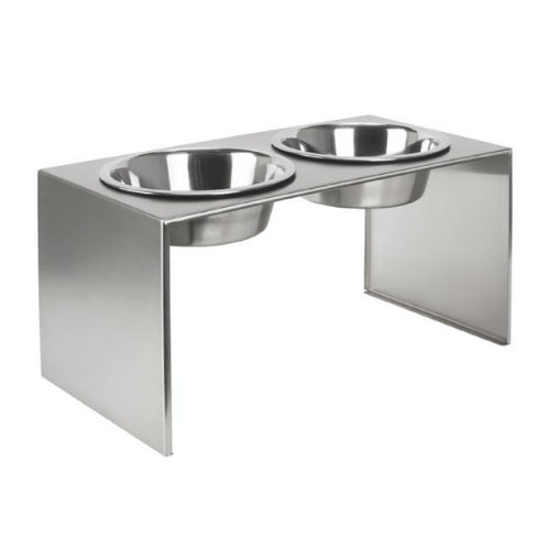 Pets Stop Slate Stainless Steel Double Bowl Diner Elevated Dog Feeder