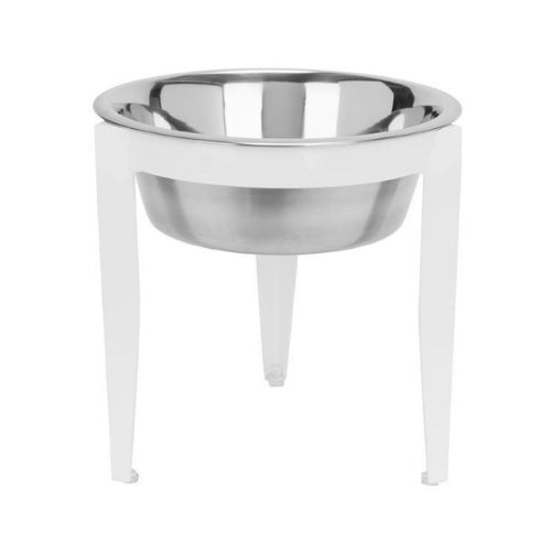 Pets Stop Wrought Iron Vision Single Diner Elevated Dog Bowl — White
