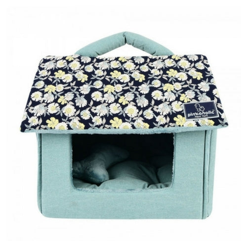 Pinkaholice New York Zinnia House Dog Bed Navy Front View