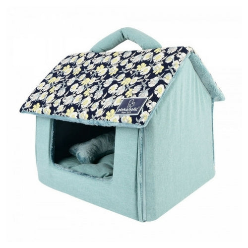 Pinkaholice New York Zinnia House Dog Bed Navy Side View