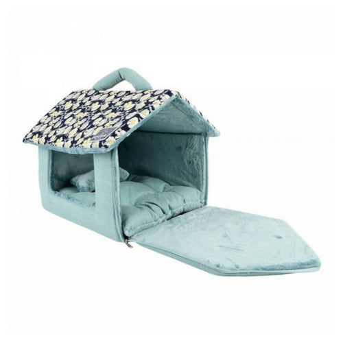 Pinkaholice New York Zinnia House Dog Bed Navy Side Open View