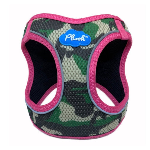 Plush Step In Air Mesh Vest Dog Harness — Camo Pink