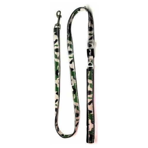 Plush USA Adjustable Reflective Nylon Neoprene Dog  Lead —  Camo