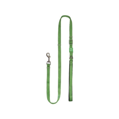 Plush USA Adjustable Reflective Nylon Neoprene Dog  Lead —  Grass Green