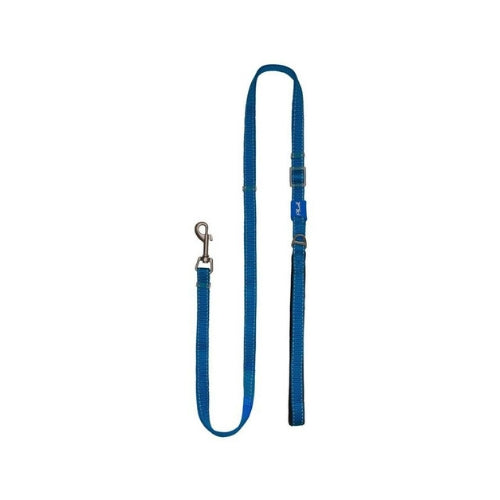 Plush USA Adjustable Reflective Nylon Neoprene Dog  Lead —  Lapis Blue
