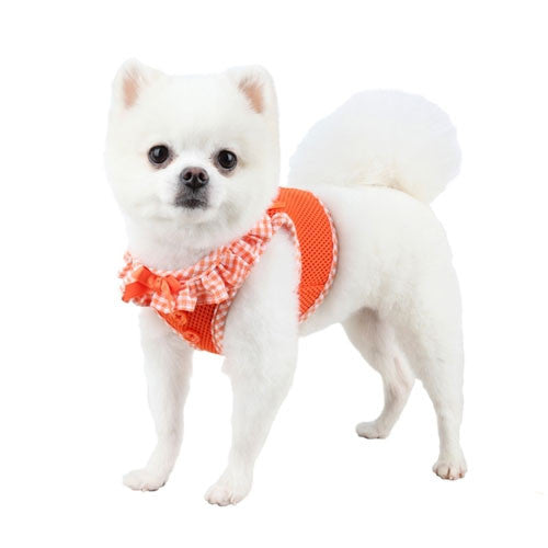 PUPPIA Vivien Step-In Soft Vest Dog Harness B Orange on Dog