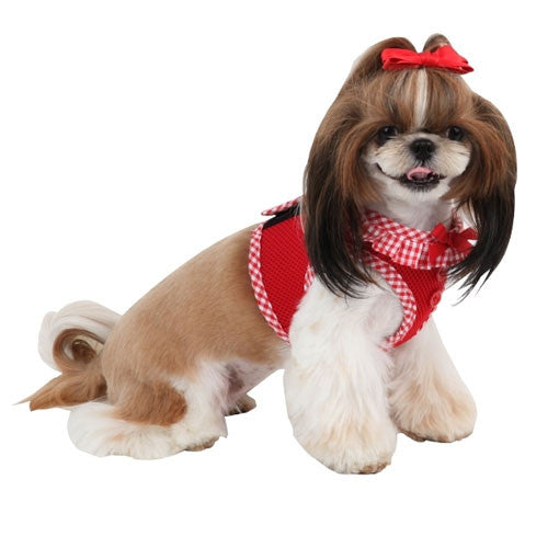 PUPPIA Vivien Step-In Soft Vest Dog Harness B Red on Dog