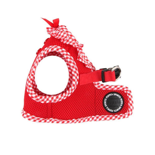 PUPPIA Vivien Step-In Soft Vest Dog Harness B Red Side View