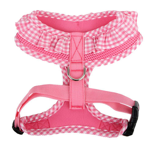 PUPPIA Vivien Soft Collar Adjustable Dog Harness A Pink Back