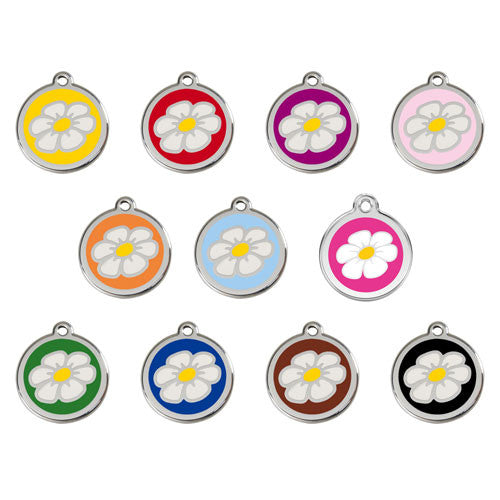 Red Dingo DAISY Engraved Stainless Steel Enamel Dog ID Tag All Colors
